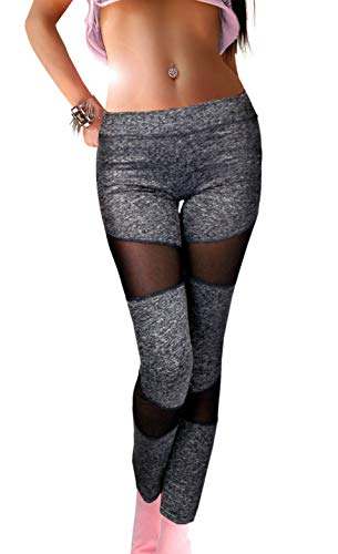 Damen Sport Leggings Stretch mit transparent Einsatz schwarz oder grau-meliert, Größe:M/L, Farbe:Grau