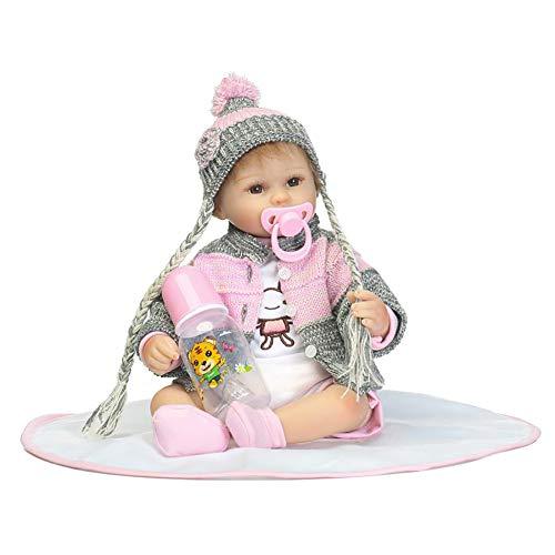 CAheadY 40cm Vinyl Silikon Reborn Baby Doll Kinder Geschenk lebensechte Kinder begleiten Spielzeug Pink