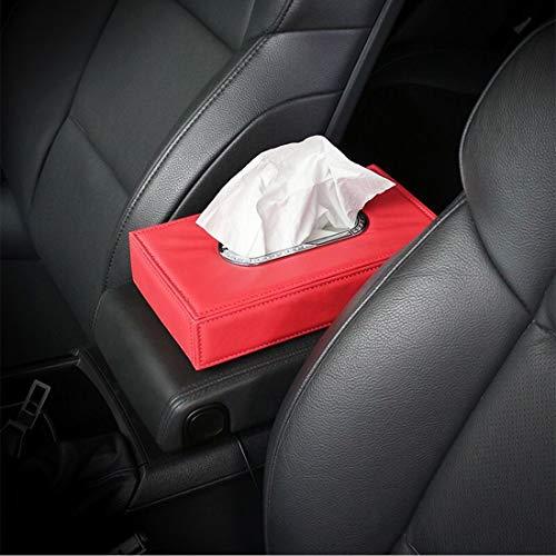 no brand Organisateur de Voitures Boîte Mouchoirs Voiture Universel Case Holder Metal Frame Tissu Fashion Box et Papier Simple Sac Serviette, Noir (Color : Red)