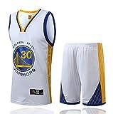 FSBYB Hombres Jerseys - Golden State Warriors Stephen Curry # 30 Mangas Bordadas Baloncesto Jersey del Swingman de la Camiseta y Pantalones Cortos,Blanco,S