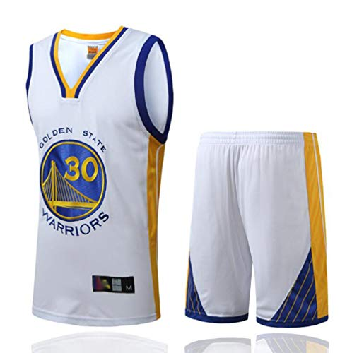 FSBYB Herren Trikots - Golden State Warriors # 30 Stephen Curry gestickte Basketball Jersey Swingman Ärmel T-Shirt und Shorts,Weiß,M