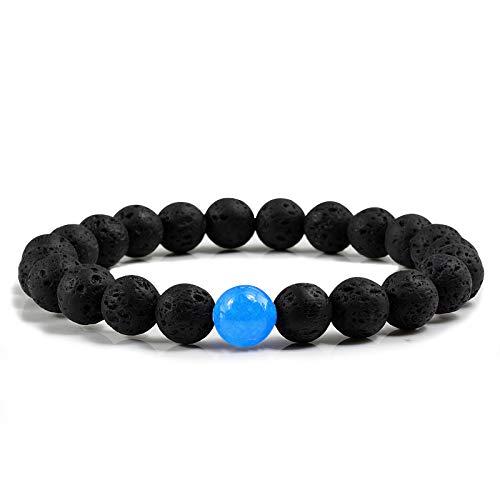 LLXXYY Stenen armband, natuursteen zwarte lava parels armband met blauwe chalcedon handgemaakte ketting voor mannen vrouwen charme armbanden yoga sieraden