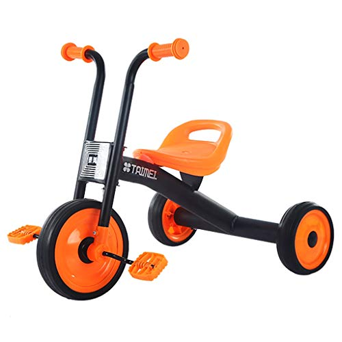 GYF Triciclo para niños de 1 a 3 a 6 años de edad, bicicleta sencilla y ligera para niños, uso en interiores al aire libre (color: naranja)