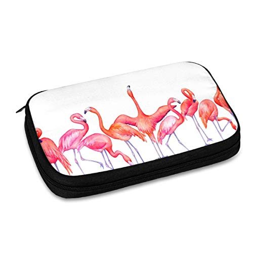 Electronics Travel Organizer Pink Flamingo Cartoon Cute Watreproof Electronic Accessories Case Portable Double Layer Cable Storage Bag for Cord, Charger, Flash Drive, Phone, SD Card, Gifts for Him