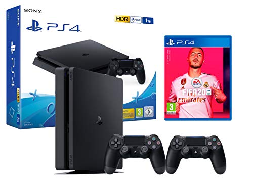PS4 Slim 1To Console Playstation 4 Noir + FIFA 20 + 2 manettes Dualshock 4