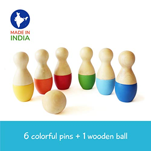 Shumee Wooden Mini Bowling Pins Toy Set (2 Years+) - Indoor & Outdoor Fun Learning Game