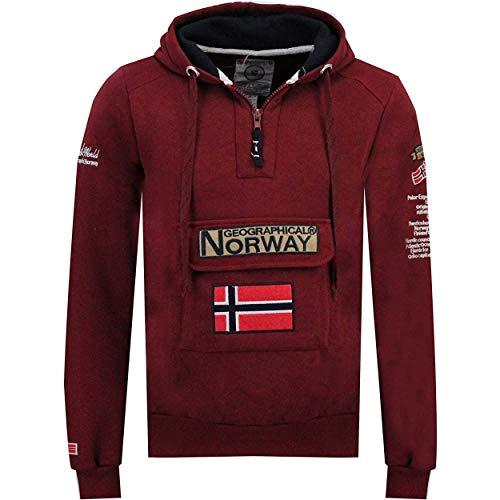 Geographical Norway GYMCLASS Men - Sudadera Capucha Bolsillos Hombre - Chaqueta Casual Hombres Abrigo - Camisetas Camisa Manga Larga - Hoodie Deportiva Regular Fitness Jacket Tops (Burdeos M)
