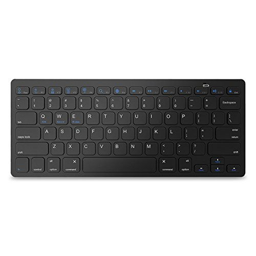 Bluetooth Keyboard, Jelly Comb Universal Wireless Bluetooth Keyboard Ultra Slim Compatible for Apple iOS iPad Pro, Mini 4, iPhone X, Android Tablets (Galaxy Tab), Windows Mac OS and Later (Black)