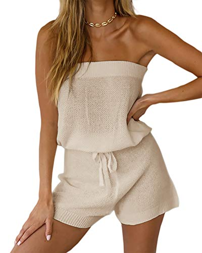 Chang Yun Womens Summer Jumpsuits Casual Loose Sleeveless Off Shoulder Elastic Waist Romper Loungewear Two Piece Outfits Beige