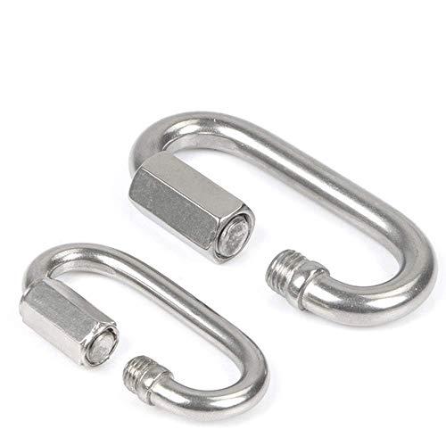 ZMHVOL Karabiner Edelstahl Quick Link Chain Link Laufstrecke Buckle M3.5-M12 for Outdoor-Aktivitäten, Camping, Angeln, Wandern, Reisen, Schlüsselanhänger, Etc. (Silber), m14 ZDWN (Size : M4)