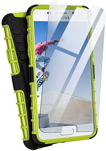 moex Panzerhülle kompatibel mit Samsung Galaxy A3 (2016) - Handyhülle mit Panzerglas, extrem stoßfest, Panzer Outdoor Hülle 360 Grad, Grün Schwarz
