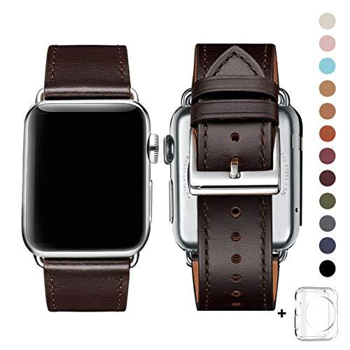 WFEAGL コンパチブル Apple Watch バンド,は本革レザーを使い、iWatch Series 5/4/3/2/1、Sport、Edition向けのバンド交換ストラップです コンパチブル アップルウォッチ バンド (42mm 44mm, レトロなダークブラウン+シルバー 四角い バックル)