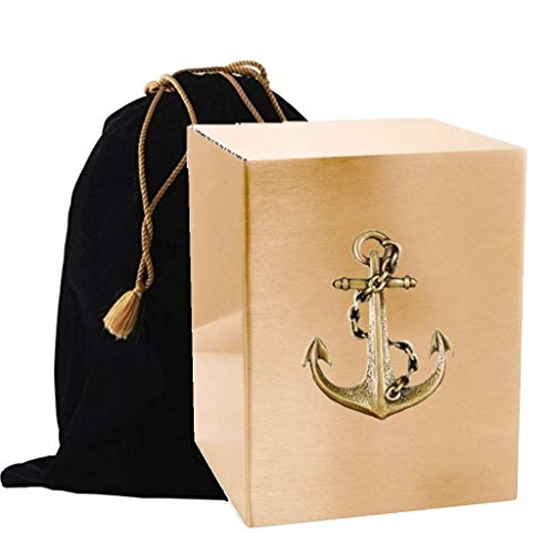 Touch4me's Gold Adult Urn Box with Applique - Adult Cremation Urn - Handcrafted Funeral Urn for Ashes - Metal Cremation Urn- Great Deal Free Bag (Anchor)