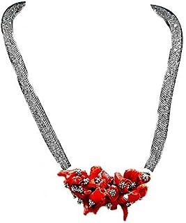 Natale Richaa Donna Collana Cuore Rosso in Argento Collana Pendente e Orecchini e Braccialetto Cuore Amore Rosso Anniversario Regali per San Valentino Compleanno