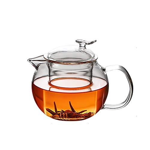 600 ml Resistente al Calor Tetera de Cristal Flor Juego de té de la Caldera de café del pote del té Vasos Set colador Tetera Tetera de Cristal (tamaño : 600ml)