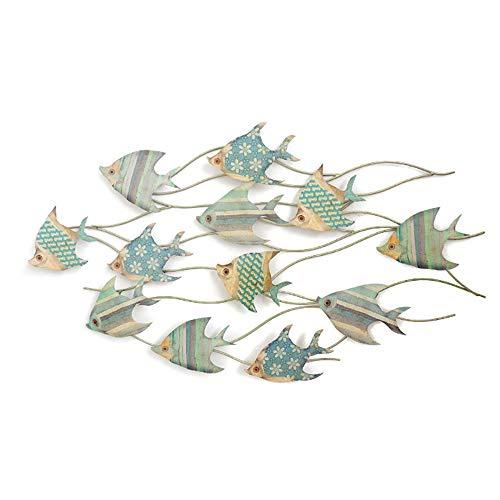 LaMei Yang Decoración de Forma de pez de Metal Grande, decoración de Pared de Hierro Forjado Creativa Vintage para Colgar en la Pared, fácil instalación, para decoración en pasillos de Sala de Estar