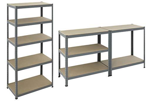 der kleine Handwerker D55010074 - Steckregal 180 x 90 x 45 cm Schwerlastregal max. 1325 kg Belastbarkeit verzinktes Kellerregal mit 5 Böden Regal