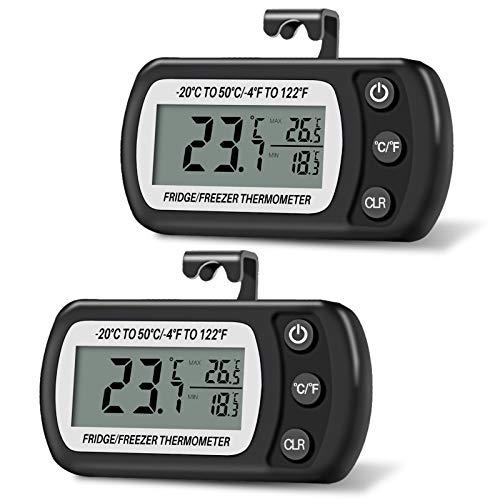 Thlevel Termómetro para Frigorífico Termómetro de Frigorífico Congelador Impermeable con Gancho, Pantalla LCD Fácil de Leer, Función de Registro Máximo Mínimo (negro 2pcs)