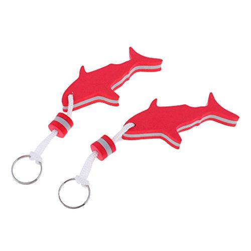 Homyl 2 Pcs de Llaveros Flotadores de Forma Tiburón para Deportes de Agua de Pesca Paseo en Bote Material de EVA - Rojo