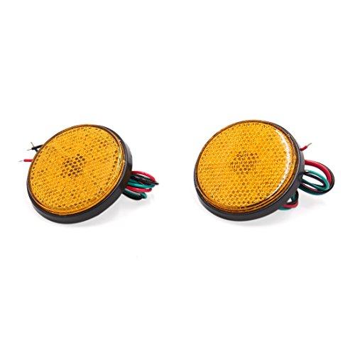 sourcing map 2pcs réflecteur LED Ronde Moto Scooter Orange Clignotant Frein arrière