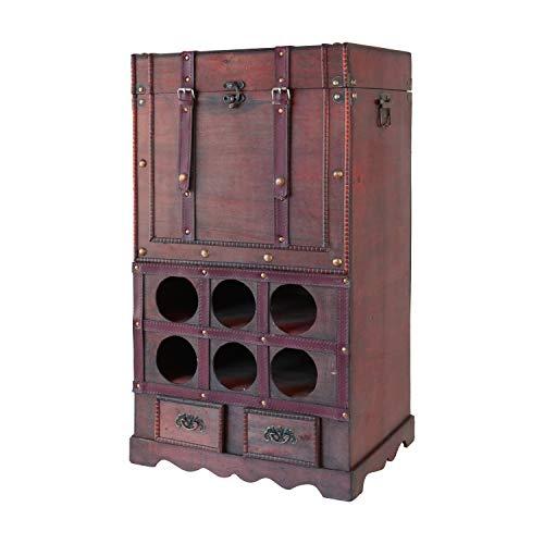 HMF 6500-176 Vintage Weinregal aus Holz mit Truhe | 76 x 43 x 33 cm | Frankreich
