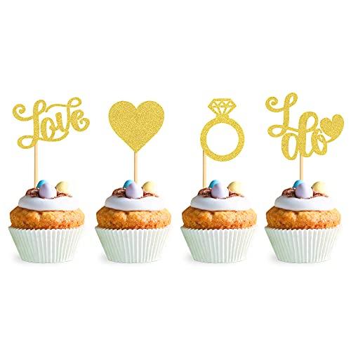 Blumomon 24Pcs Gold Glitter Diamond Ring Love I Do Cupcake Topper Picks for...