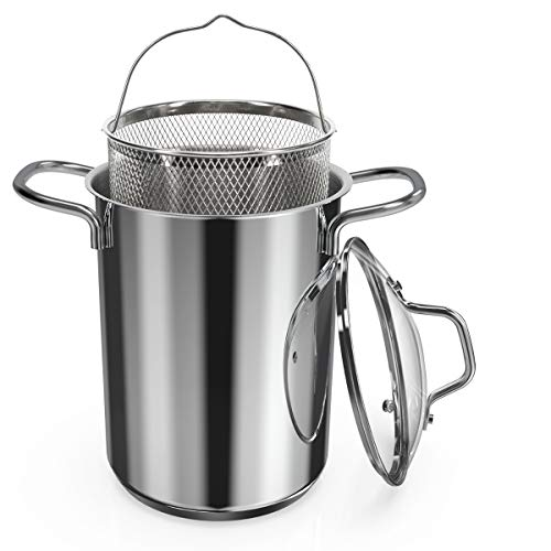 Navaris Asparagus Pot - Stainless Steel Asparagus Vegetable Steamer Spaghetti Pasta Stovetop Cooker...