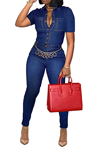 Women's Sexy Denim Jumpsuits Elegant Slim Long Sleeve Long Pants Clubwear with Pockets Buttons