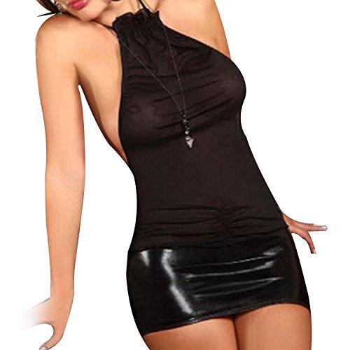 TiaoBug Damen Lingerie Dessous Leder Lack Negligee Clubwear Partykleid (One Size, Schwarz)