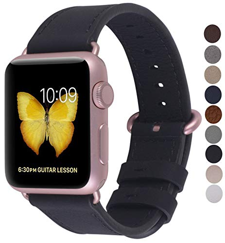 JSGJMY Compatible with Iwatch Band 38mm 40mm Women Genuine Leather Loop Replacement Strap Compatible with Iwatch Series 4 3 2 1 Sport Edition(38mm 40mm S/M,Black+Rose Gold Buckle)