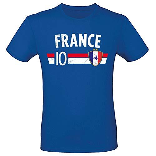 Shirt-Panda Fußball WM T-Shirt · Fan Artikel · Nummer 10 · Passend zur Weltmeisterschaft · Nationalmannschaft Länder Trikot Jersey für 2022 · Herren Damen Kinder · Frankreich France M