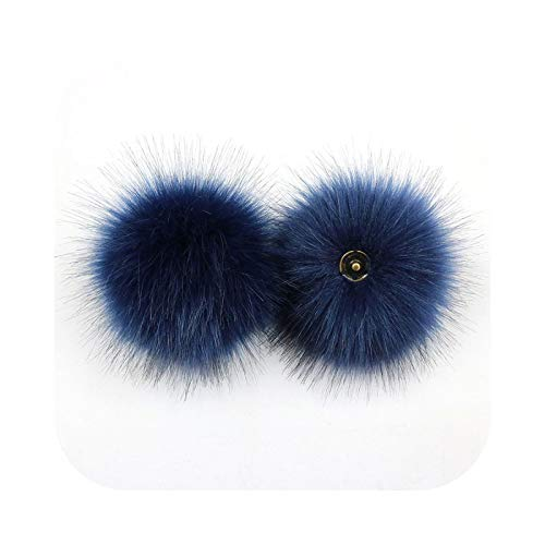 happy-Boutique Fluffy Pompom Ball Fabric Craft DIY Soft Hair Ball Hair Decoration at Home Supplies Custom-Navy 10 cm