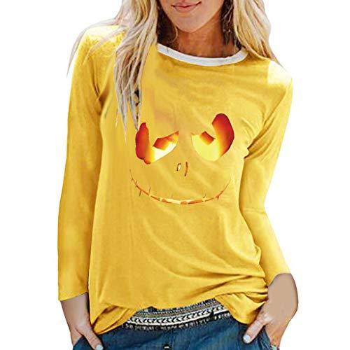 Battnot Halloween Kostüm für Damen Halloween-Pullover, Frauen Hoodie Cosplay Party Beängstigende Halloween 3D Kürbis Grimasse Gedruckt Langarm Oberseiten Pulli Bluse Womens Top Sweatshirt S-XXXL