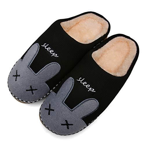 Mishansha Zapatillas Invierno Hombre Casa Zapatos Antideslizante CáLido Pantuflas Casa Cómodas Suave Slippers Negro Gr 39/40 EU (Tamaño del Fabricante 40/41EU)