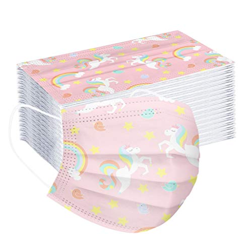 LUCKME 50 Stück Mund und Nasenschutz 3-lagig Bunt Regenbogen Mund Schutz Kinder Einweg Niedlich Mundbedeckung für Jungen Mädchen