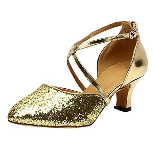 Binggong Damen Tanzschuh Geschlossen Glitzer Abendschuhe Schnürschuhe,Women Ballroom Latin Salsa Square Dance Shoes