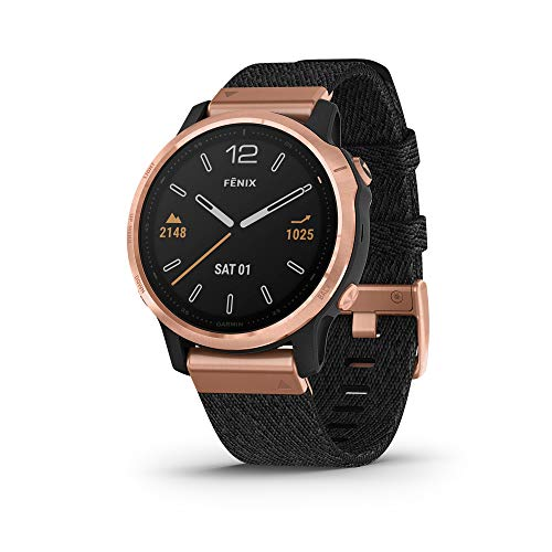 Garmin Fenix 6S Sapphire, Premium Multisport GPS Watch, Smaller-Sized, features Mapping, Music, Grade-Adjusted Pace Guidance and Pulse Ox Sensors, Rose Gold with Black Nylon Band
