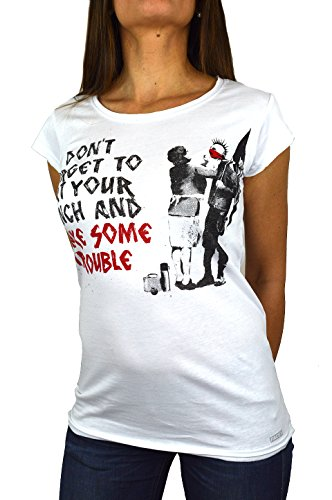 Banksy Make Some Trouble T-shirt voor dames, Made in Italy