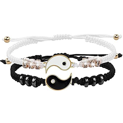Tai chi Armbänder für 2 Matching Yin Yang, Bester Freund Armbänder Verstellbare Geflochtenes Armband Herren Damen Kordelkette Armband für BFF Freund Freundin Valentinstag-1 Paar