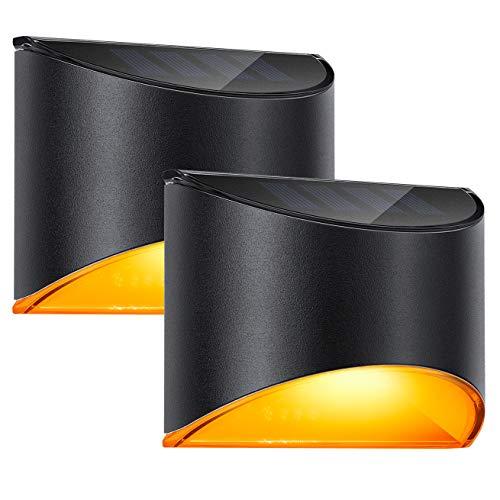 LeiDrail Solarleuchten für Außen Solar Wandleuchten Wandleuchte Aussen Warmweiß Solarlicht Garten Solarleuchte Wand kabellos Wasserdichte Zaun Beleuchtung für Veranda Pfad Garage 2 Stück