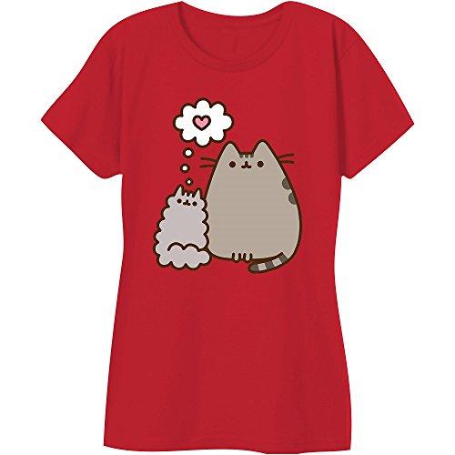 Pusheen The Cat Kitty Love Juniors T-Shirt (Medium, Red)