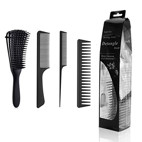 Cepillo para el cabello de 4 piezas, juego de cepillos para desenredar profesional, peine grueso, peine pequeño, peine universal para hombres y mujeres, adecuado para todo tipo de cabello