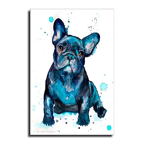 ROOM DECOR FOR BEDROOM,mens Bathroom Decor,garden Wall Art,Black French Bulldog Baby Watercolor,animal,illustration Canvas Art Poster and Wall Art Picture Print Modern Classroom Kitchen Family Bedroom
