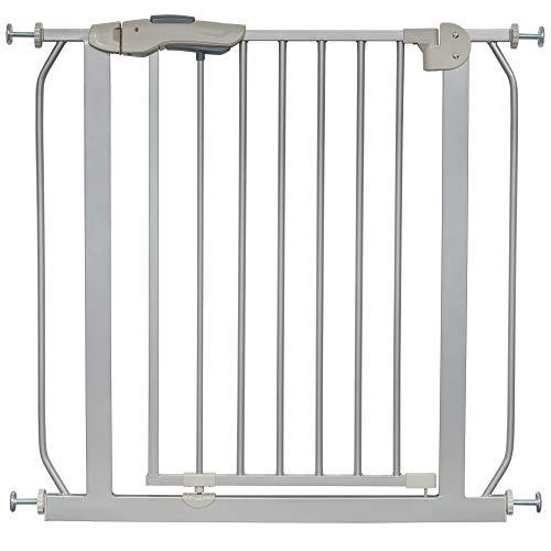 ib style® KAYA | Das Premium Treppengitter|mit ALLEN Sicherheitsmerkmalen | ! Inkl. Wandschutzkappen ! | Kein Bohren | Grau |150-160 cm + 2x Y-Adapter