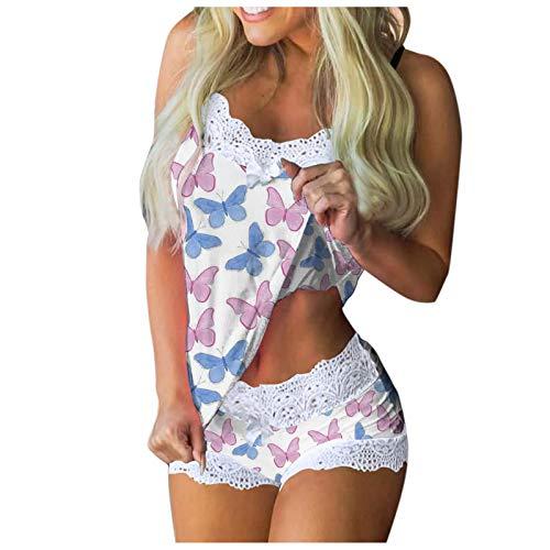 BOIYI 2 Pijamas para Mujer Conjuntos De Piezas Camisa sin Mangas + Pantalones Dormir Estampado de Mariposa Sexy Mujeres Imprimir Sin Mangas Encaje Cami Shorts LenceríA Conjunto(2# Blanco,L)