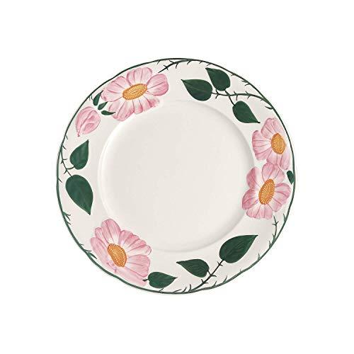Villeroy & Boch - Wildrose Speiseteller mit floralem Muster, flacher Teller aus Premium Porzellan mit rosa Wildrose Dekor im Landhausstil, 26 cm