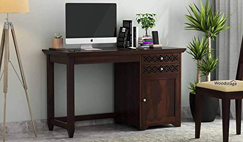 Furnifab Sheesham Wood Study Table for Living Room, Office Table for Home (Study Table with Chair, Walnut Finish)