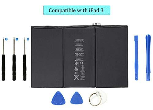 Batería de repuesto para iPad 3, DDS-DUDES 11560 mAh Li-ion Baterías internas Compatible con A1389, A1403, A1416, A1430 + Toolkit