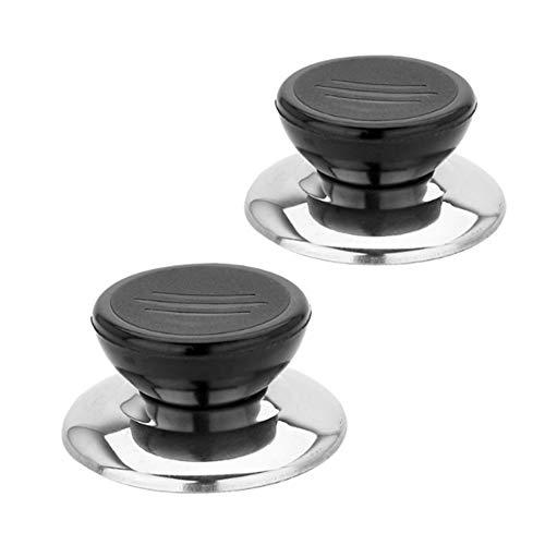 2x Chytaii Poignée de Rechange Bouton Support pour Couvercle de Marmite Casserole en Acier Inoxydable Accessoire de Marmite