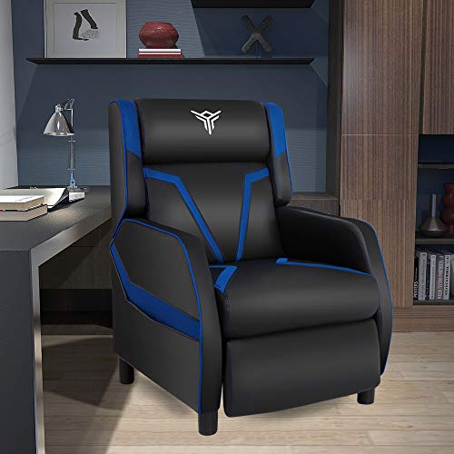 Gaming Recliner Chair PU Leather Single Recliner Sofa Adjustable Modern Living Room Recliners Ergonomic Comfortable Home Theater Recliner Seat (Blue) blue chair gaming